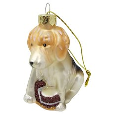 Vintage Blown Glass Dog & Slipper Christmas Ornament