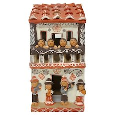 Earthenware Adobe-Quincha House Sculpture From Peru