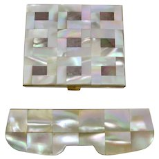 1950s Mother of Pearl Mirror Compact & Comb Holder Set