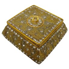 Gold & Crystal Trinket Box From India