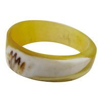 Ring Carved From Abalone Shell Size 5