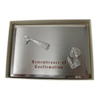 Catholic Remembrance of Confirmation Display With Unused Engraving Plate