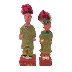 Vintage Chinese Opera Man & Lady Dolls