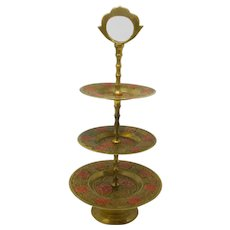 Engraved Brass 3-Tier Cake Stand With Red Enamel Roses