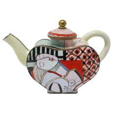 Miniature Enameled Brass Teapot With Picasso Design