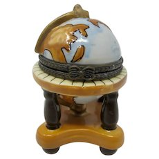 World Globe Ceramic Miniature Trinket Box