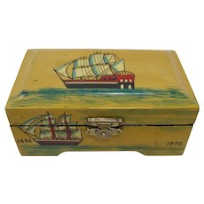 Chinese Lacquered Trinket Box With Ships
