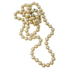 Opera Length Imitation Champagne Pearl Necklace