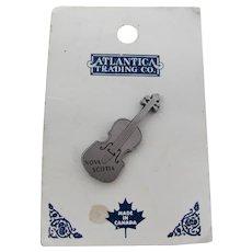 Nova Scotia Pewter Fiddle Lapel Pin On Original Display Card