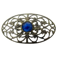 Bronze Filigree Brooch With Blue Glass Stone