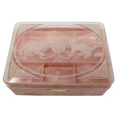 1950s Marbled Pink Plastic Sewing Box With Kittens