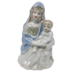 Mid-Century Lusterware Virgin Mary & Christ Child Figurine