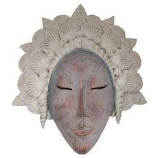 Balinese-Style Stone Resin Mask With Seashell Headdress