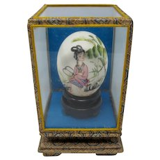 Hand-Painted Egg In Glass Case From China