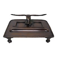 Bronze Desk Tray With Longhorn Steer Skull