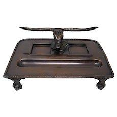 Bronze Desk Tray With Longhorn Steer Skull