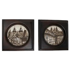 Hand-Painted Miniature Views of Prague (Set of 2)