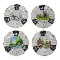 Set of 4 Miniature Porcelain Plates With Signs of the Zodiac