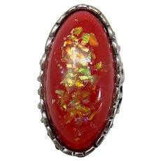 Big Red Confetti Lucite Ring Size 6.5