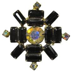 SALE! 1950s Snowflake Brooch With Black & Aurora Borealis Rhinestones