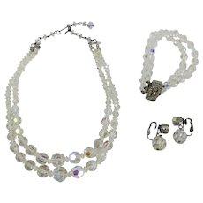 Aurora Borealis Crystal Choker, Bracelet, & Earring Set