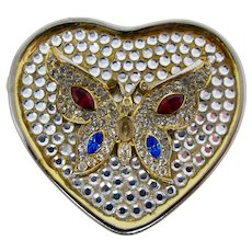 Heart-Shaped Pill Box With Rhinestone Butterfly