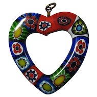 SALE! Vintage Millefiori Glass Heart Pendant