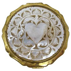 1950s Stratton Abalone Heart Mirror Compact