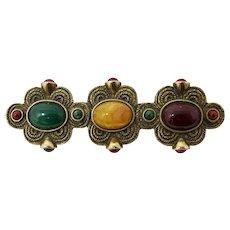Purple, Green, & Gold Lucite Triptych Brooch