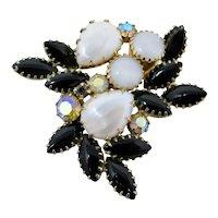 Juliana D&E Black Glass & Faux Pearl Brooch With Aurora Borealis Rhinestones