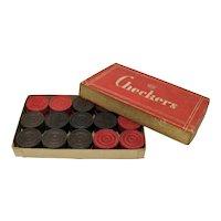 1940s Wooden Checkers In Original Box