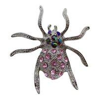 Silver Spider Brooch With Pink & Aurora Borealis Rhinestones