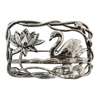 Silver-Plated Cutout Swan & Water Lily Brooch