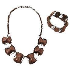 Copper & Glitter Lucite Choker And Bracelet Set
