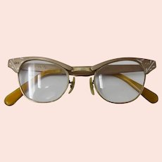 1950s Gold-Filled Cat's Eye Glasses With Cutout Trim