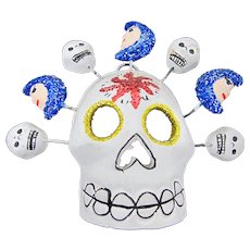 Mexican Day of the Dead Clay Skull Mini-Mask With Moons