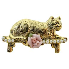 Golden Cat Brooch With Faux Seed Pearls & Porcelain Rose