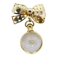 1940s Good Luck Brooch With Mustard Seed In Glass