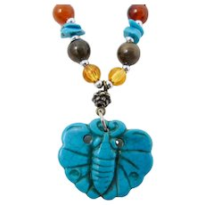 Faux Turquoise Beaded Butterfly Necklace