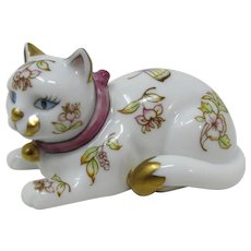 Franklin Mint Satsuma White & Gold Cat Figurine