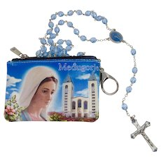 Blessed Virgin Mary Blue Crystal Rosary With Our Lady of Medjugorje Case