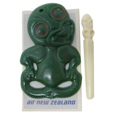 Air New Zealand Maori Tiki Talisman With Toothpick