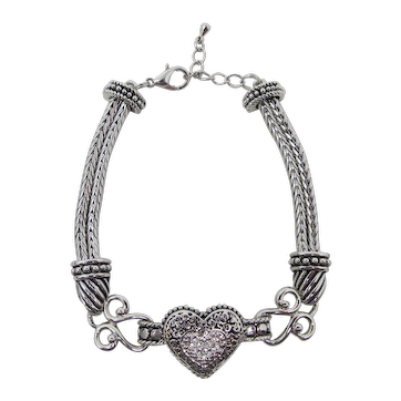 Double Snake Chain Bracelet With Rhinestone Heart