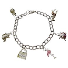 Animal Charm Bracelet With Sterling Rabbit & Giraffe, Monet Bear, More
