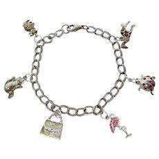 Animal Charm Bracelet With Sterling Rabbit, Jezlaine Giraffe, Monet Bear, More
