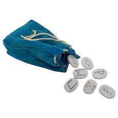 Clay Divination Runes In Blue Drawstring Bag