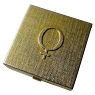 SALE! Vintage Goldtone Pillbox With Venus Symbol