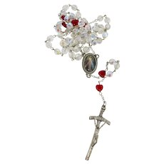 Aurora Borealis Crystal & Red Glass Heart Rosary From Italy