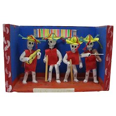 Mexican Day of The Dead Skeleton Mariachi Band Retablo