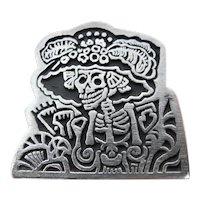 Alice Seely Pewter Calavera Catrina Skull Brooch